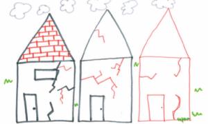 tekening van een huis met aardbevingsschade getekend door een kind